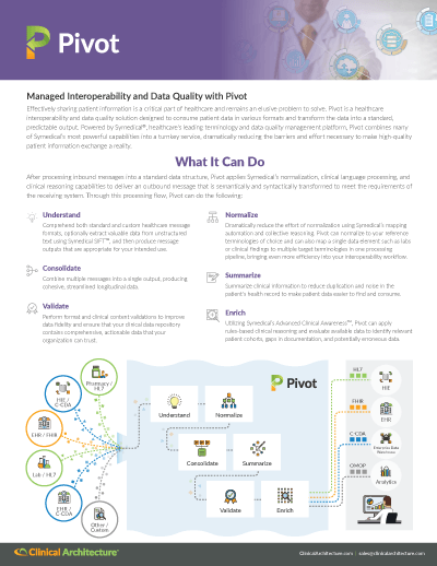 Pivot - Healthcare Interoperability and Data Quality Solution Data Sheet