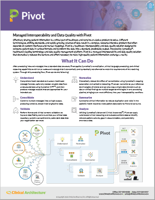 Pivot - Healthcare Interoperability and Data Quality Solution Data Sheet